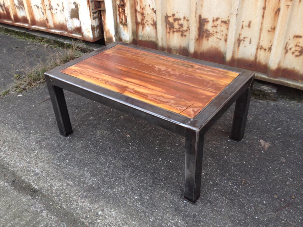 Steel and wood coffee table santaconapp Wood and steel furniture